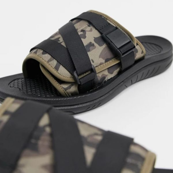 ASOS Design Sliders with Padded Camo Print Strap