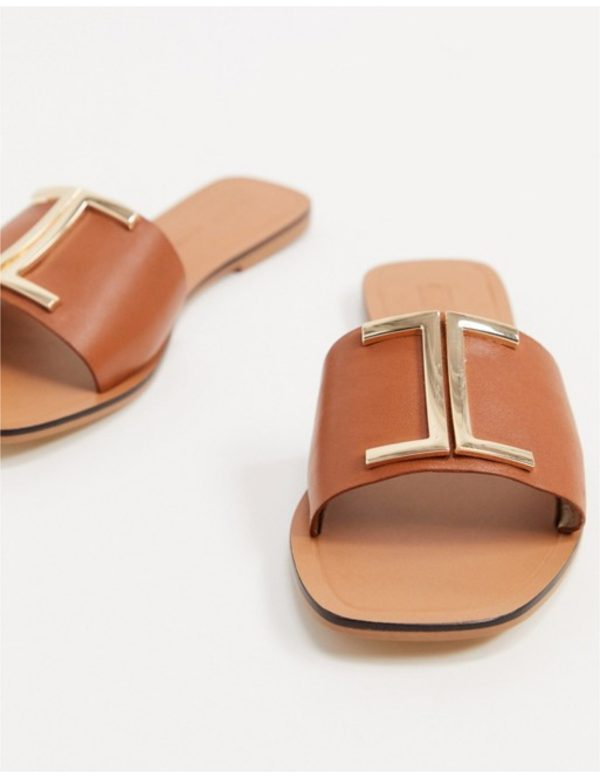 Asos Design Leather Flat Slippers on jodycruise.com