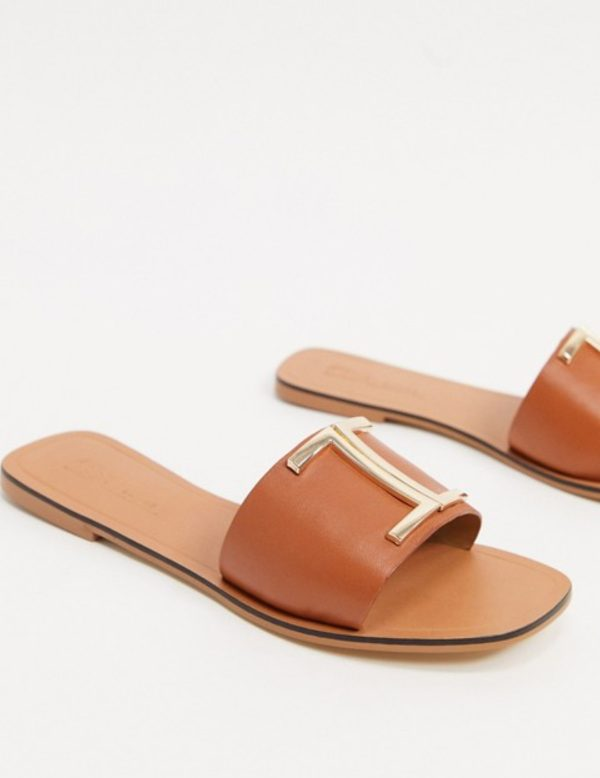 Asos Design Leather Flat Slippers