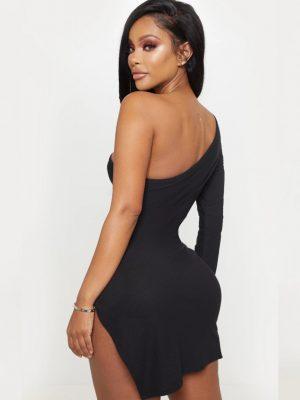 PrettyLittleThing One Shoulder Split Bodycon Dress