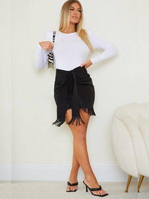 PrettyLittleThing Woven Tassle Tie Waist Wrap Skirt