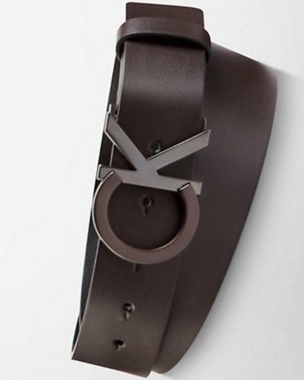 Calvin Klein Logo buckle leather belt