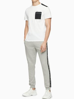 Calvin Klein Solid Nylon Zip Pocket Crewneck T-Shirt