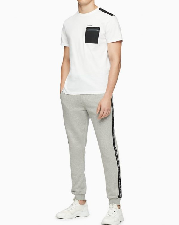 Calvin Klein Solid Nylon Zip Pocket Crewneck T-Shirt