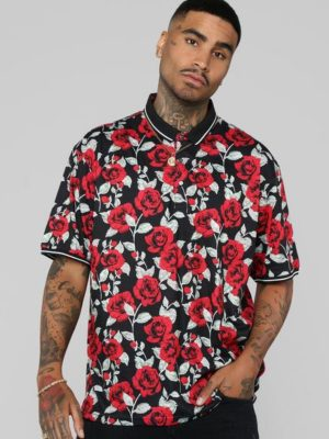 FashionNova Rose Garden Short Sleeve Polo