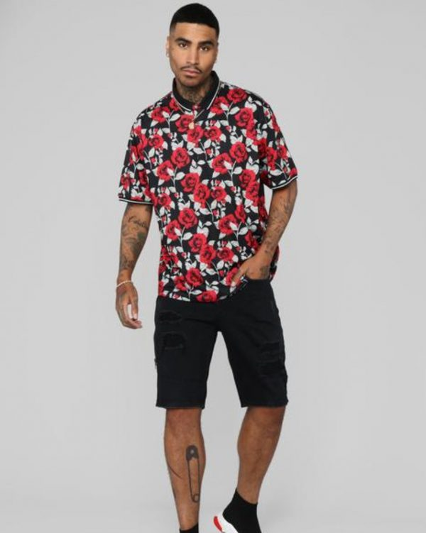 FashionNova Rose Garden Short Sleeve Polo - Black/Red