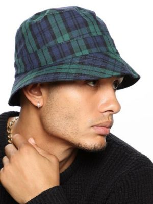 FashionNova Travis Plaid Bucket Hat - Green/Combo