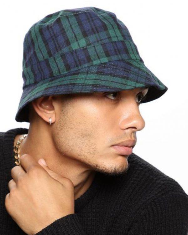 FashionNova Travis Plaid Bucket Hat - Green/Combo