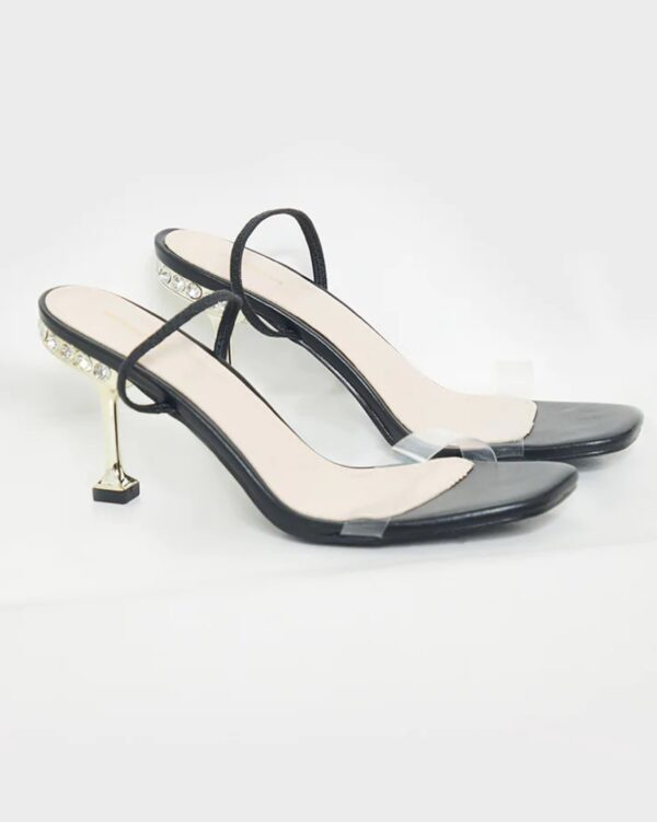 PrettyLittleThing High Metal Jewel Slingback Heel Sandals