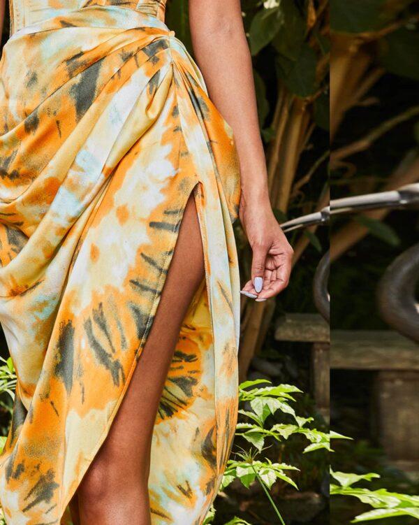 PrettyLittleThing Orange Tie Dye Ruched Side Midi Skirt